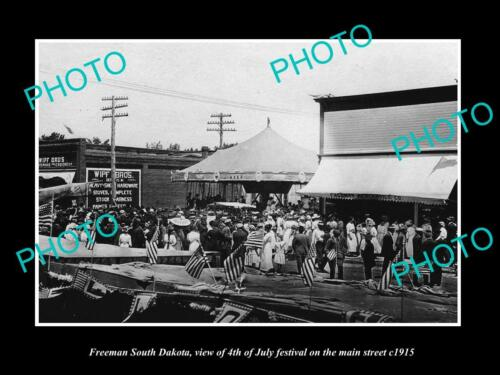 OLD 6 X 4 HISTORIC PHOTO OF FREEMAN SOUTH DAKOTA, THE JULY 4th PARADE c1915