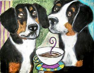 ENTLEBUCHER-MOUNTAIN-DOG-Drinking-Coffee-Dog-Pop-Art-Signed-Print-8-x-10-KSAMS