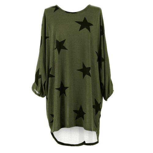 Oversize Damen Pullover Pulli Bluse Tunika Top T-Shirt Longshirt Oberteile Kleid