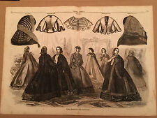 1861 Paris Fashions for February Lg Civil War Era Fashion Print Harper's 112215