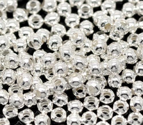 1000 Versilbert Rund Glatt Spacer Perlen Beads