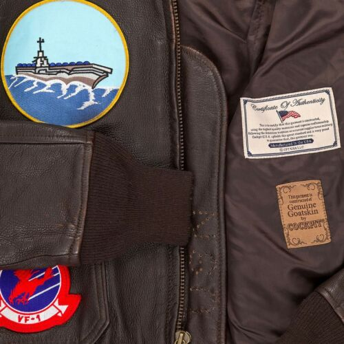 "Cockpit USA /""Movie Heroes/"" Top Gun Navy G-1 Jacket Brown USA MADE  Z201036T"