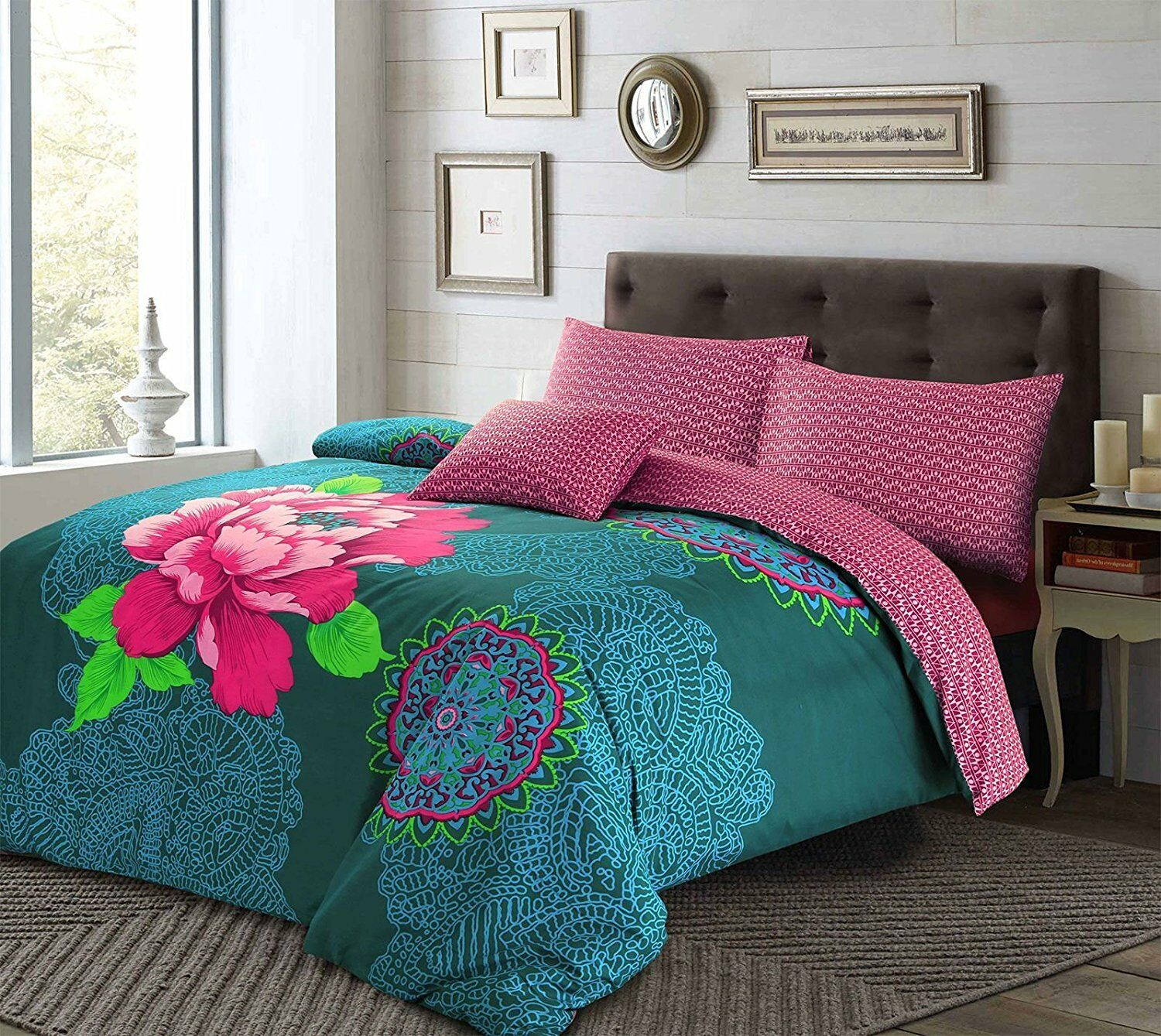 Bohemian Floral Janice Duvet Quilt Cover Bedding Set & Pillowcases King Size Bed