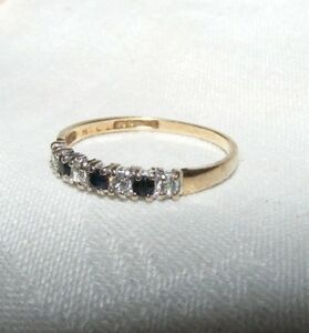 9-Karat-9K-Gold-Saphir-Und-Klar-Zirkonia-6-Stein-Ring-Size-L-1-2-UK-Hallmark