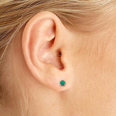 14k Petite Yellow Gold Round Genuine Emerald Stud Earrings