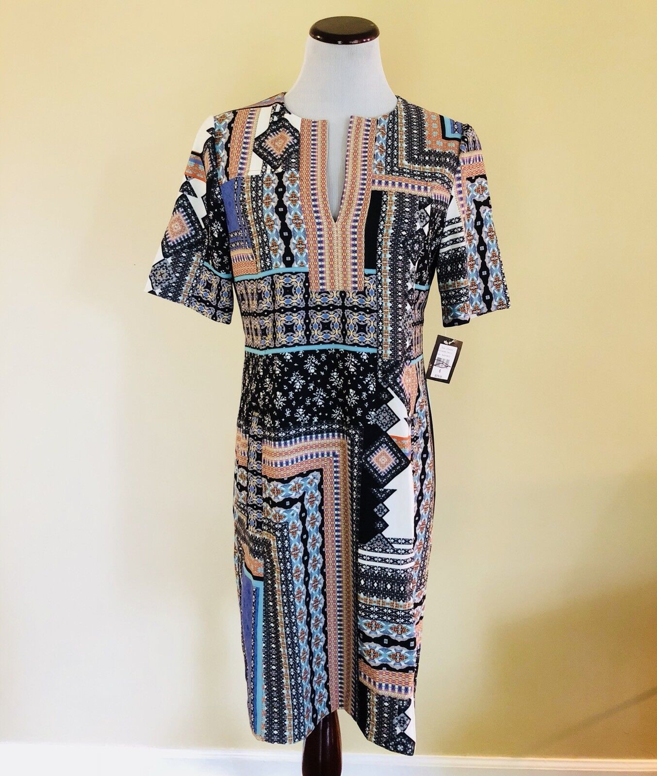 New Nanette Lepore Patchwork Tunic Dress 60s Mod Style Size 6 Retails  378