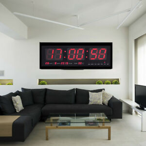 led wanduhr digitaluhr mit datum temperatur wohnzimmer b ro uhr 48 19 5cm bm 736691652425 ebay. Black Bedroom Furniture Sets. Home Design Ideas