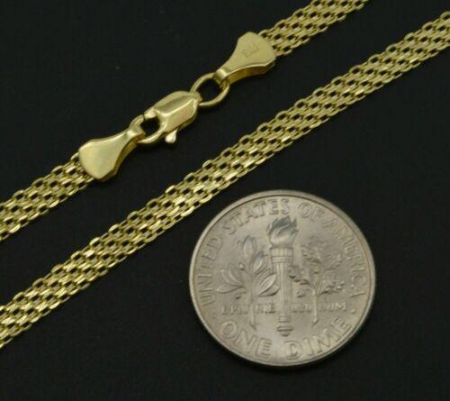 """14k Jaune or Massif Bismark-Link Bracelet 3.1 mm 10/"""" 2.3 G"""