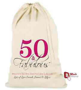 Details About PERSONALISED 50th BIRTHDAY GIFT BAG 50th Fabulous ANY NAME MANY SIZES