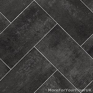 Image Is Loading Dark Grey Herringbone Tile Style Vinyl Flooring Kitchen