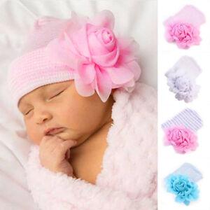 a6d09ebc694 0~3 months Newborn Baby Infant Girl Flower Soft Cotton Hospital Cap ...