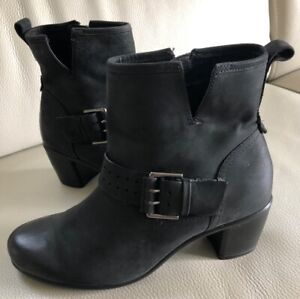 Details about NWOB Ecco Womens Ankle Boots Size 38 7 Black Suede Buckle Moto Chunky Heel