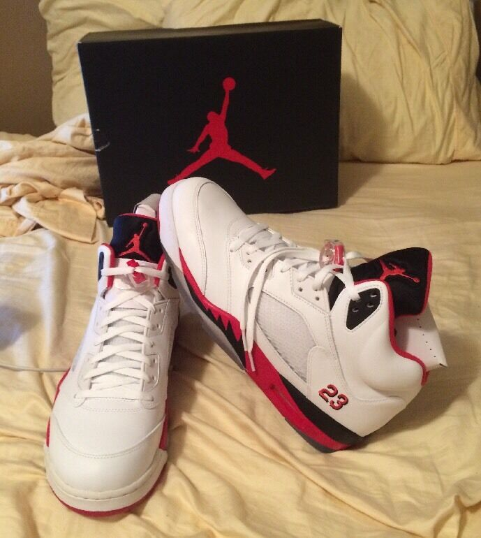 NIB Nike Air Jordan Retro 5 V Fire Red Size 13 100% Authentic Concord Space Jam