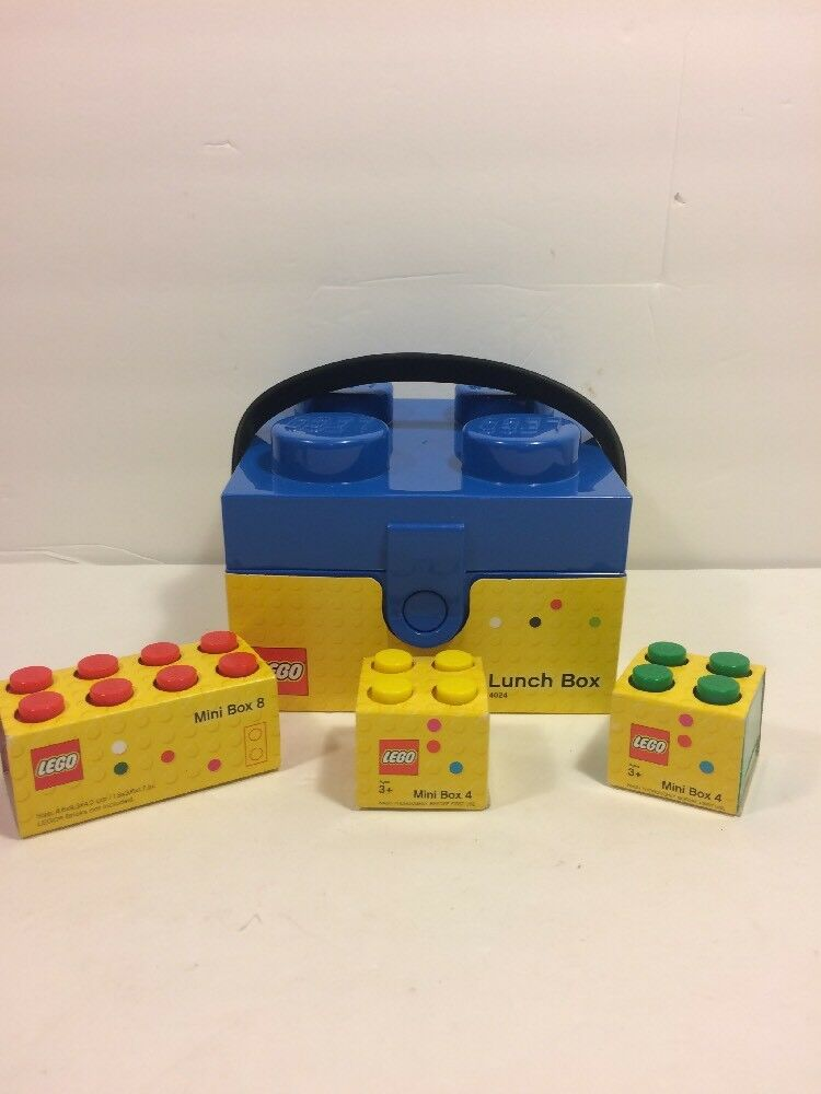 Lego bluee Lunch Box w  Handle & Lego Mini Boxes