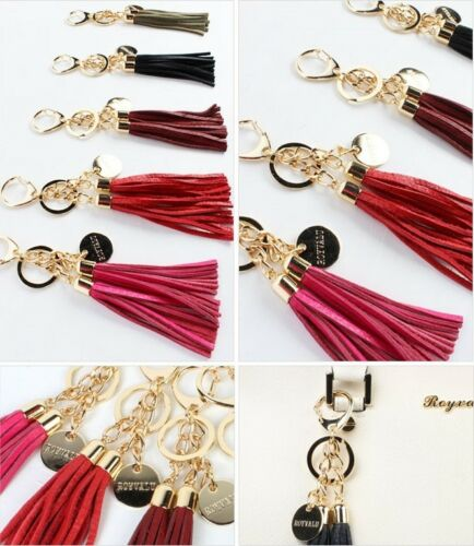 100% Genuine Leather Double Tassel Key Chain Womens Handbag Accessories Ornament