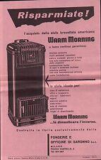 """VOLANTINO PUBBLICITARIO """" STUFA A GAS """" FONDERIE E OFFICINE SARONNO 1955 11-148"""