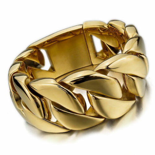 """8/""""-11/"""" Heavy Gold Men/'s Chain Bracelet Stainless Steel Cuban Curb Cuff Bangle"""