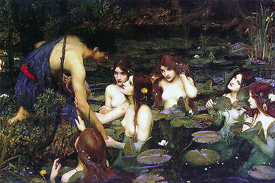 Large Waterhouse Undine Water Nymph In Fountain Painting Canvas Art Print