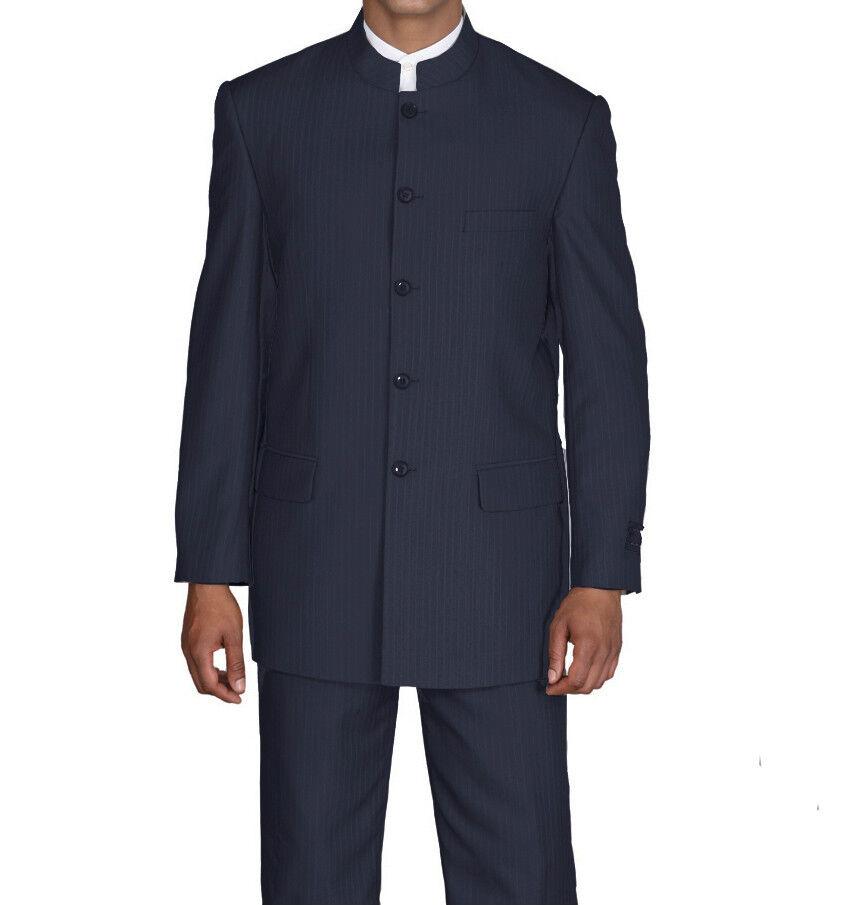 New Men/'s Mandarin Collar Pin-Stripe Church Suit 925H Navy 36R~60L