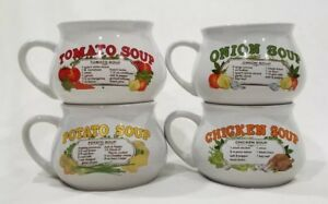 Set-4-Vintage-Recipe-Soup-Mugs-Cups-Bowls-Tomato-Chicken-Potato-amp-Onion