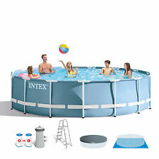 Intex 15 Feet x 42 Inches Prism Frame Pool Set with Ladder, Cover, & Pump