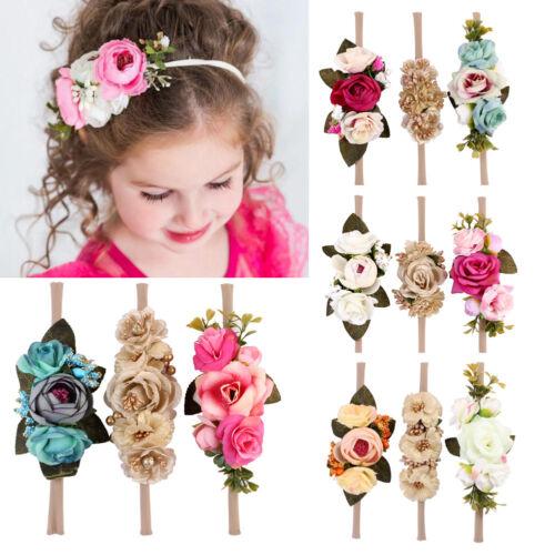 3Pcs Baby Girl Boho Artificial Flower Headband Newborn Hair Accessories USA