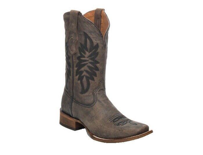 Corral Herren Quadratische Zehe Vintage Braun Stickerei Cowboy Western Stiefel