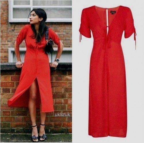 Topshop Poppy Red Polka Dot Spot Midi Tea Dress Size 6 Ebay