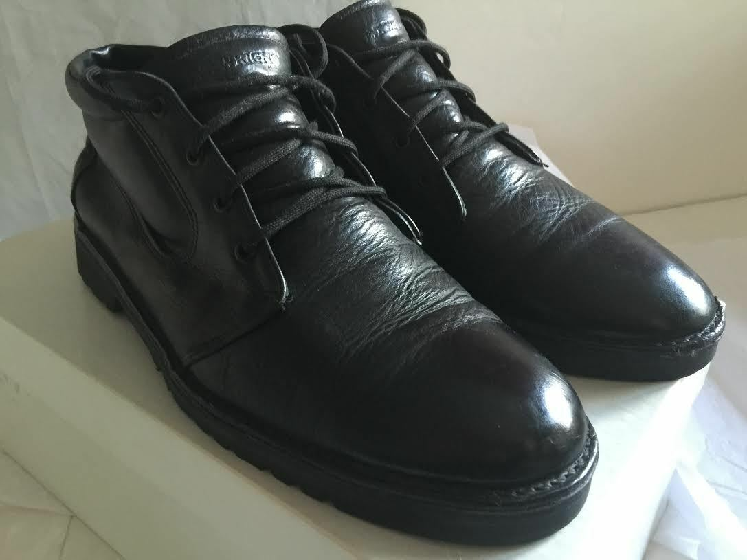 E.T. WRIGHT BLACK LEATHER LACE-UP ANKLE BOOTS MADE IN USA SIZE 12