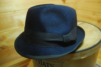 a58a3c1f0fcf3 Details about Vintage Blue Star Blue Fur Felt Trilby Fedora Hat EU 56 Uk 6  7/8 US 7