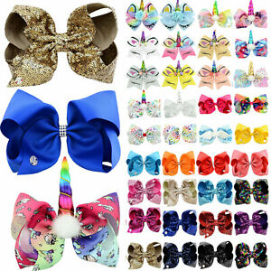 JOJO SiLarge 8 Inch Baby Girls Hair Bow Hair Pins Alligator Clip Hairpin Bowknot