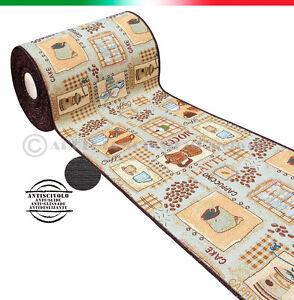 Details zu Tappeto cucina moderno passatoia SU MISURA AL METRO bordato  caffè mod.CHALET 6