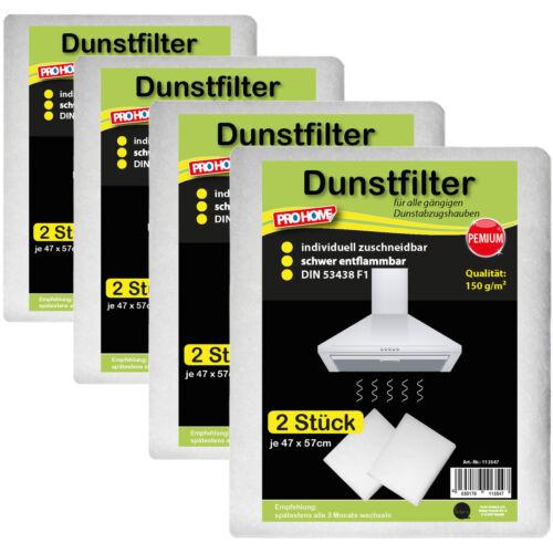 8 x Universal Dunstfilter Premium 150 Dunstabzugshaube Filter Fett Dunst 57x47cm