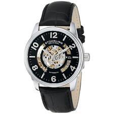 Stuhrling Legacy Men's 42mm Automatic Black Calfskin krysterna Date Watch 649.01
