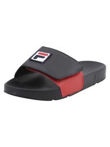 Fila-Men-039-s-Drifter-Strap-Black-White-Fila-Red-Slides-Sandals-Shoes-Sz-7