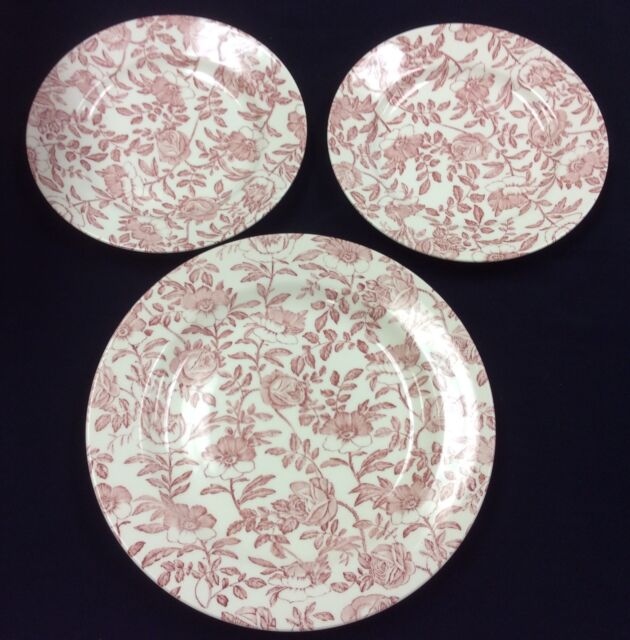 SET OF 3 CHURCHILL ENGLAND PINK FLORAL DINNER & SALAD PLATES