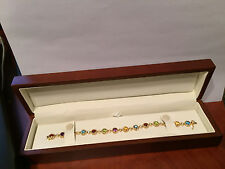 Yellow Gold Multi Colored Stone and Diamond Bracelet  0.31cts 14kt