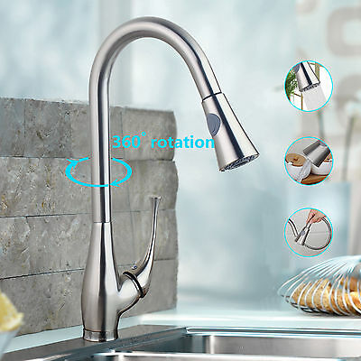 Kitchen Swivel Faucet Pull Out Single Handle Nickel brushed Basin Sink Mixer Tap