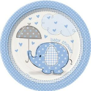 Blue-Baby-Boy-Shower-Party-SWEET-UMBRELLA-ELEPHANT-DESSERT-CAKE-PLATES
