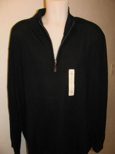 NEW XLT XT TURNBURY 100/% Merino Wool 1//4 Zip Mock Neck Sweater SOLID BLACK $70