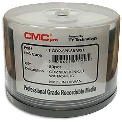 600-Pak CMC PRO =WATERSHIELD & GLOSSY= Silver Pearl Inkjet Hub 52X 80-Min CD-R's
