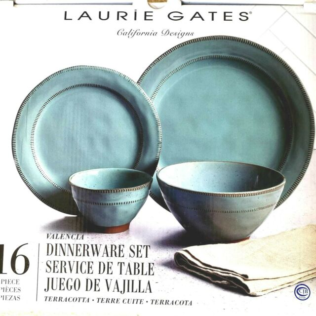 New Laurie Gates 16 Piece Dinnerware set California Designs Stoneware Nice Gift