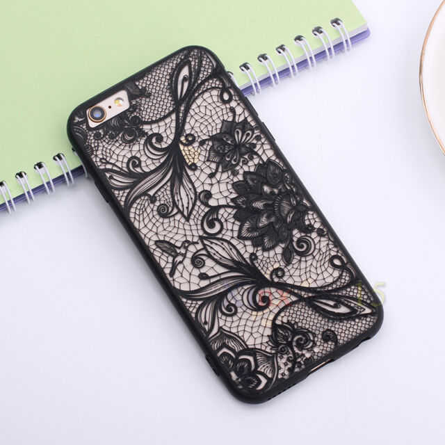 Lace Pattern Silicone Bumper Hard Back Phone Case Cover For iPhone 5s 6 6s Plus