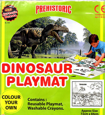 NEW DINOSAUR PLAYMAT WITH WASHABLE CRAYONS JURASSIC PREHISTORIC CHILDREN GAMES