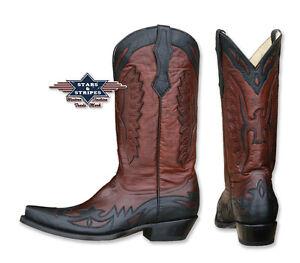 Details zu Westernstiefel Cowboystiefel Leder Boots Handmade Stars & Stripes WB 20 Neu