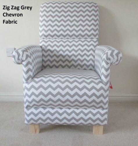 Grey Zig Zag Chevron Fabric Adult Chair White Retro Vintage Nursery Armchair New