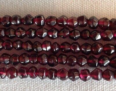 """14"""" Std Natural Dark Red Garnet Faceted Round 4mm Gemstone Bead"""