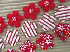 60 Red Floral/Stripes/Felt Gingham Fabric Flower Applique/trim/Craft/Sewing H72