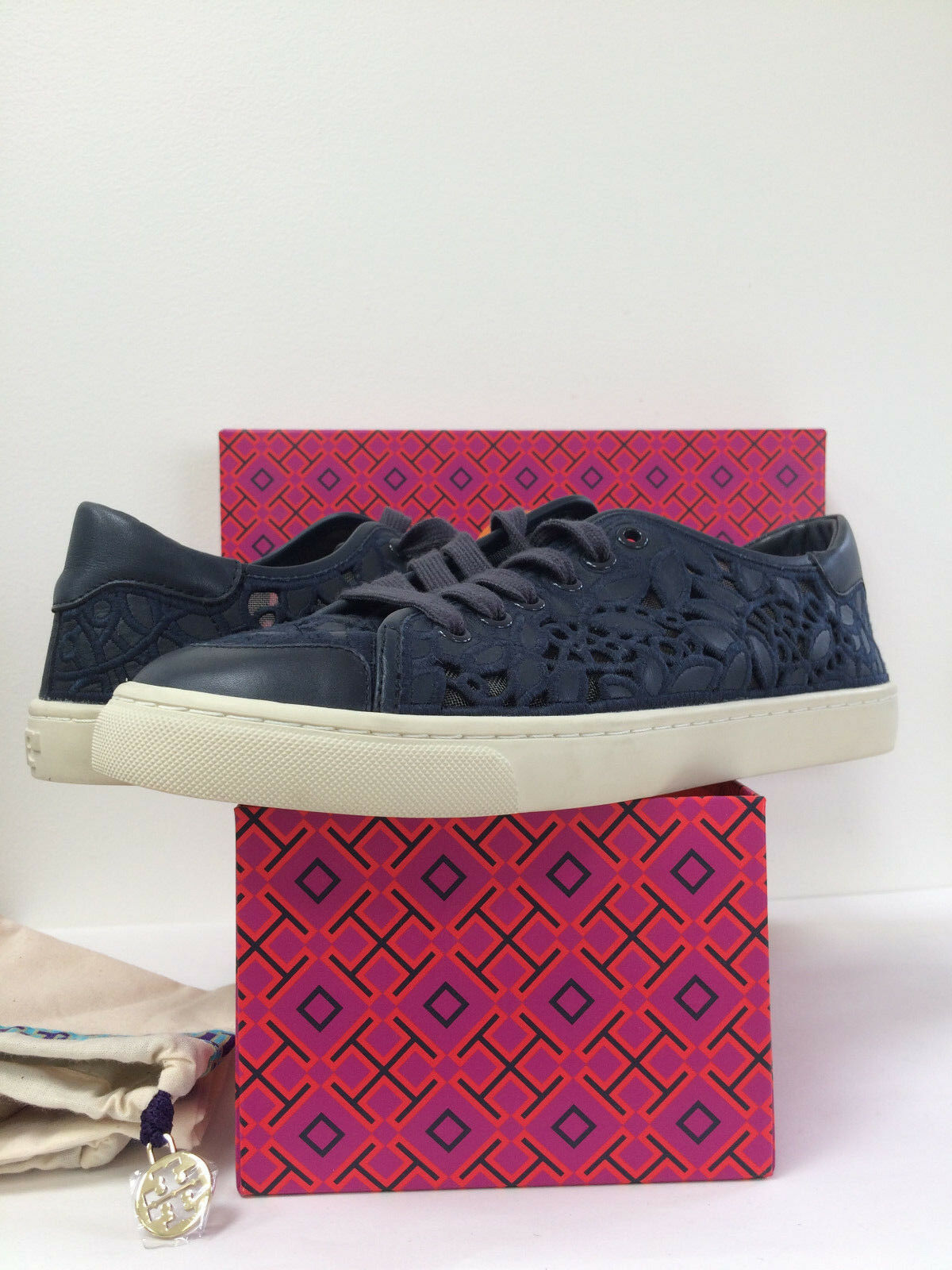 New Tory burch Rhea Embroidery Leather Lace Mesh Sneaker Tori Navy Sz 8.5M 9.5M