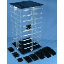 4 Sided Revolving Rotating Jewelry Display Stand With 100 2 Black Earring Cards